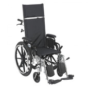Reclining Wheelchair, Light Weight, with Elevating Leg rest and Flip Back Detachable Desk Arms, Viper Plus - pl414rbdda