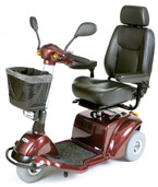 Burgundy Pilot 3-Wheel Power Scooter - pilot2310bg20cs