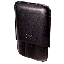Black Leather Cigar Case with 3 Fingers
