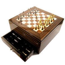 Cigar Humidor Maestro with Chess Board and Pieces