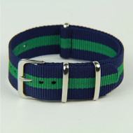 24MM NYLON STRAP BLUE GREEN STRIPE WATCH BAND