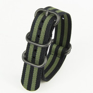 22MM BLACK GREEN NYLON ZULU STRAP
