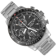 Seiko Solar Chronograph Alarm Mens Pilot Watch SSC009P1