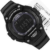 Casio Youth Black Digital Illuminator Solar LED Light Watch W-S220-1BV WS220