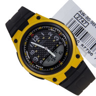 Casio Mens WR50m Black Yellow Analog Digital Watch AW-80-9BVDF