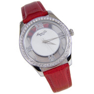 Kenneth Cole Ladies Red Leather Transparent Dial Watch KC2873