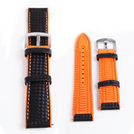 22MM BLACK LEATHER ORANGE RUBBER WATCH STRAP 22A8056-05