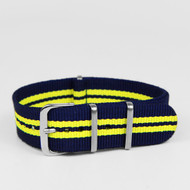 20MM NYLON STRAP BLUE YELLOW STRIPES WATCH BAND 20AKOR380