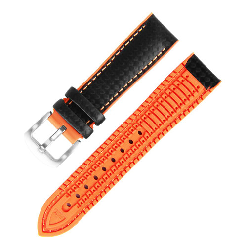 18MM BLACK LEATHER ORANGE RUBBER WATCH STRAP 18A8056-05