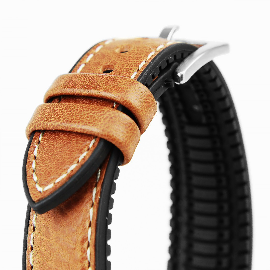22mm Light Brown Leather Hybrid Black Rubber Watch Strap 22a8013 03 Italian Leather