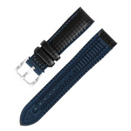 18MM BLACK LEATHER BLUE RUBBER WATCH STRAP 18A8056-03