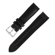 18MM BLACK LEATHER RUBBER WATCH STRAP 18A8056-01
