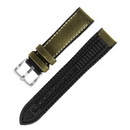 22MM MOSS GREEN LEATHER HYBRID BLACK RUBBER WATCH STRAP