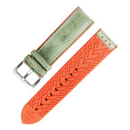 22MM GREEN LEATHER ORANGE RUBBER WATCH STRAP