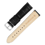 20MM BLACK GENUINE LEATHER WATCH STRAP