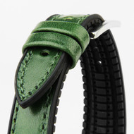 20MM GREEN LEATHER BLACK RUBBER WATCH STRAP 20A8078-04
