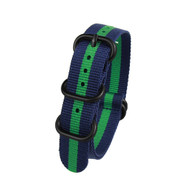 20MM BLUE W GREEN STRIPES NYLON ZULU STRAP