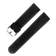 20MM BLACK WITH WHITE STITCH RUBBER WATCH STRAP
