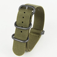 20MM CROCODILE GREEN NYLON ZULU STRAP