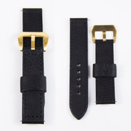 24MM BLACK ITALIAN GENUINE LEATHER WATCH STRAP