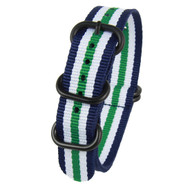 22MM BLUE GREEN WHITE NYLON ZULU STRAP