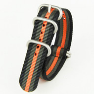20MM BLACK & ORANGE NYLON ZULU STRAP