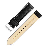 20MM BLACK W/ WHITE LINING GENUINE LEATHER WATCH STRAP