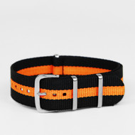 20MM NYLON STRAP BLACK ORANGE STRIPES WATCH BAND