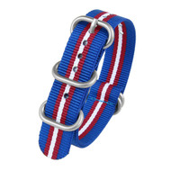 20MM BLUE RED WHITE NYLON ZULU STRAP