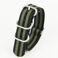 20MM BLACK WITH GREEN NYLON ZULU STRAP