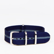 20MM NYLON STRAP BLUE GREY STRIPES WATCH BAND