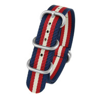 20MM BLUE WHITE MAROON NYLON ZULU STRAP