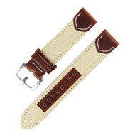 20MM BEIGE BROWN FLAT LEATHER WATCH STRAP