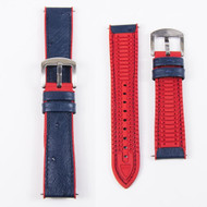 BLUE LEATHER RED RUBBER WATCH STRAP