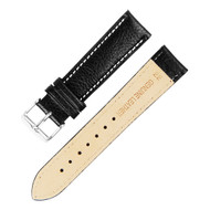 22MM BLACK W/ WHITE LINING GENUINE LEATHER WATCH STRAP