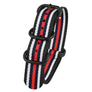 22MM BLACK W RED & BLUE STRIPES NYLON ZULU STRAP