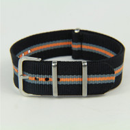 18MM NYLON STRIPED STRAP BLACK GREY ORANGE