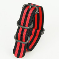 18MM BLACK RED NYLON ZULU STRAP
