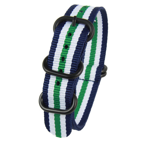 18MM BLUE GREEN WHITE NYLON ZULU STRAP