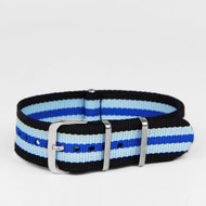 18MM NYLON STRAP BLACK BLUE STRIPES WATCH BAND