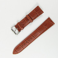21MM LIGHT BROWN LEATHER BLACK RUBBER WATCH STRAP