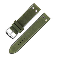 20MM ARMY GREEN WHITE STITCH SUEDE LEATHER WATCH STRAP 20A76H04B