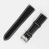 21MM BLACK LEATHER WATCH STRAP
