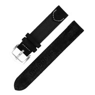20MM BLACK FLAT LEATHER WATCH STRAP