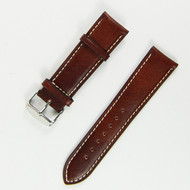 22MM BROWN W/ WHITE LINING LEATHER WATCH STRAP