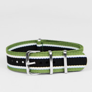 20MM NYLON STRAP GREEN WHITE BLACK STRIPES WATCH BAND