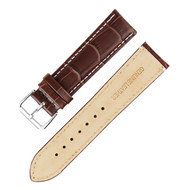 21MM GENUINE LEATHER BAMBOO PRINT BROWN WATCH STRAP