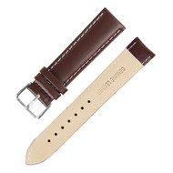 21MM BROWN W/ WHITE GENUINE LEATHER WATCH STRAP