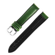 18MM GREEN LEATHER BLACK RUBBER WATCH STRAP
