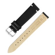 18MM ITALIAN LEATHER BLACK WATCH STRAP